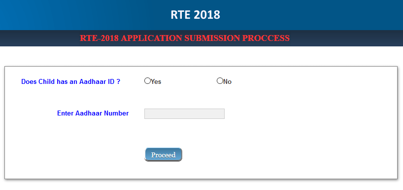 RTE 2018-19 Application Form- process for apply online